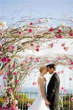 Flower Arrangement  bride, groom, wedding dress, floor, venues, garden, branches, decorations, crystal, arches, backdrops, flowers, kiss the bride, black, brown, pink, white, luxury, modern, outdoor, romantic, traditional