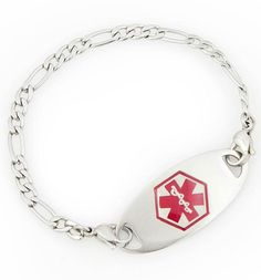 Small Figaro Medical Alert Bracelet For Women With Tag - Lauren's Hope Med ID Jewelry