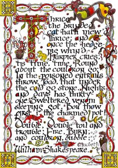 Macbeth  The Witches Chant  Illuminated Manuscript by JessicaDoyle, $75.00