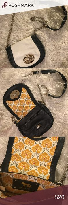 Small handbag with gold chain Classic leather flop cross body handbag. Can see it's worn but there are no rips or stains. I think it's in great condition! Emma Fox Bags Crossbody Bags