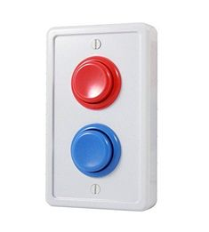 Arcade Light Switch Plate Cover, Single Switch, 1-Gang Standard Size Rocker Wall Plate, Game Room Decorator, Kid Bedroom Wallplate, Faceplate Replacement - White/Red/Blue