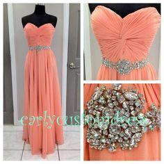 Long Coral Prom Dress/Beaded Bridesmaid by CarlyCustomDress, $89.99