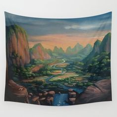 Land Before Time Valley Wall Tapestry by anapplease - Small: x Wall Tapestries, Tapestry Wall Hanging, Land Before Time, Height Chart, How To Buy Land, Outdoor Walls, Watercolour Painting, Hand Sewn