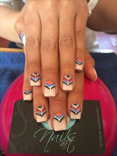 Love these nails Nails art, acrylic nails, tribal nails Get Nails, Love Nails, How To Do Nails, Hair And Nails, Crazy Nails, French Nails, Gorgeous Nails, Pretty Nails, Essie