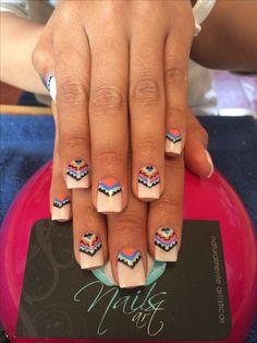 Nails art, acrylic nails, tribal nails | See more at http://www.nailsss.com/french-nails/2/