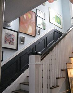 black picture molding on the staircase