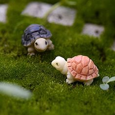 JiaUfmi 2 Pieces Miniature Fairy Garden Mini Turtles Ornament Dollhouse Plant Pot Figurine DIY Decor Home Decoration -- Click the image to find out more