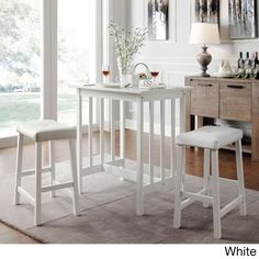 Dinette Sets For Small Spaces Kitchen Table 3 Piece Counter Height Pub Bar Wood #TribeccaHome #Contemporary