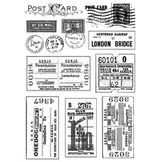 Crafty Individuals Unmounted Rubber Stamp, inch x 7 inch, Vintage Tickets and Postmarks, Multicolor Papel Vintage, Vintage Stamps, Vintage Labels, Vintage Ephemera, Foto Transfer Potch, Etiquette Vintage, Lettering, Smash Book, Mail Art