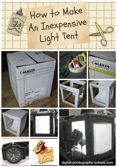How to Make An Inexpensive Light Tent - DIY - Digital Photography School Diy Photo, Photo Tips, Photo Poses, Photography Tutorials, Photography Tips, Product Photography, Light Tent Photography, Photography Classes, Photography Backdrops