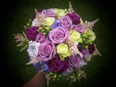 Wedding, Flowers, Green, Purple, Bouquet, Brides