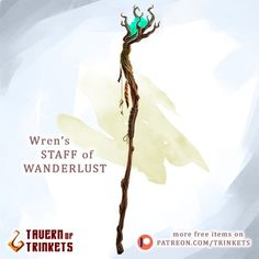 75 Likes, 1 Comments - Tavern of Trinkets Staff Magic, Weapon Concept Art, Tabletop Rpg, Character Sheet, Fantasy Weapons, Dungeons And Dragons, Fantasy Art, Give It To Me, Wanderlust