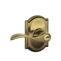 Schlage F51 ACC 609 CAM Camelot Collection Accent Keyed Entry Lever, Antique Brass by Schlage Lock Company. $68.91. From the Manufacturer                Traditional Camelot Collection is available in numerous finishes and a wide variety of high-quality Schlage lever and knob options that create abundant combinations. First and foremost, you can trust Schlage for residential security. And now the Camelot Collection suites perfectly with our Schlage Camelot style ha...