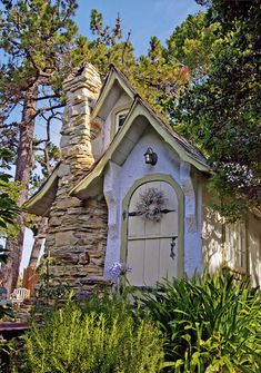 Hansel Cottage - Carmel-By-The-Sea: In Hugh Comstock build the Hansel cottage for his wife, Mayotta, as a studio for her doll-making hobby as it began to grow into a business. Photo © copyright by Mike Barton. Little Cottages, Cabins And Cottages, Little Houses, Fairytale Cottage, Storybook Cottage, Cute Cottage, Cottage Style, Cottage Door, Lavender Cottage