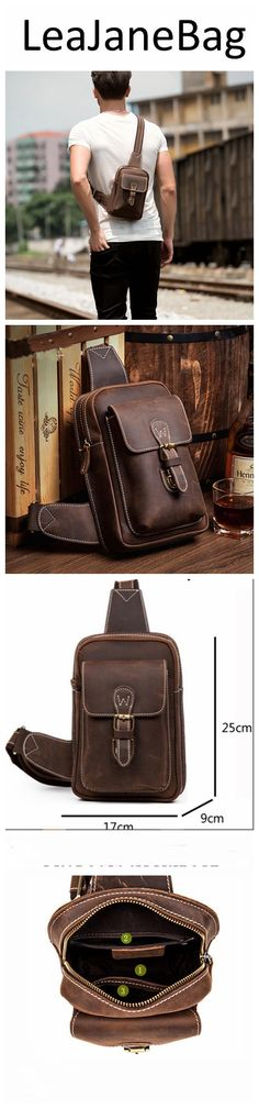 First Layer Genuine Leather Chest Bag, Men's Chest Bag,Handmade Bag MS007