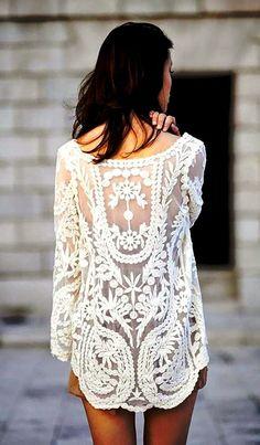 Cream White Floral Crochet Tunic