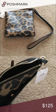 """Coach North/South Crossbody -Leopard Print Canvas Coach North/South Crossbody in Leopard Print Coated Canvas. New With Tags!  8""""L x 8-1/2""""H x 1-1/4""""W.  zip top closure, inside lining with slip pocket. Pocket with snap on outside back of bag. Adjustable strap Coach Bags Crossbody Bags"""