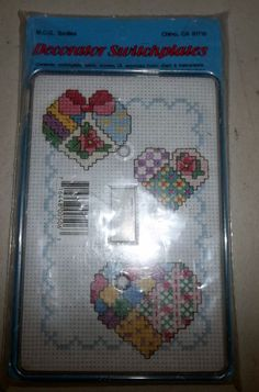 Cross Stitch Kit Single Switchplate UL Approved Hearts Rainbow Quilting #MCGTextiles #SingleLightswitchCover