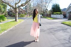 Perfect transitional outfit - midi skirt, bright blouse and chunky knit, with my staple brogues.
