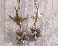 Birds Nest Earrings with Gray Freshwater Pearls