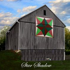 Quilt Barn Magnet with Star Shadow Pattern