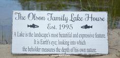 Lake House Decor  Custom Lake House Sign  Family Name Established Cottage Cabin by CarovaBeachCrafts