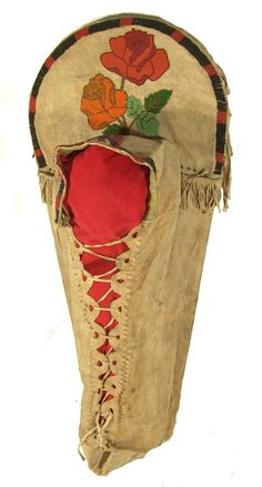 """Nez Perce Beaded Cradleboard ~ Full sized buckskin covered cradle with floral beaded top, beaded trim, and fancy Apache-style """"cut-out"""" edging for the laces. Ex: Sacajawea Museum collection. Condition: very good. 34"""" x 15"""" x 6"""" Circa: Early 1900s"""