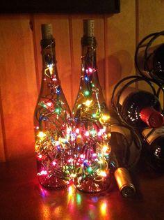 Items similar to Set of 2 Amber Wine Bottle Lights - Night Light, Christmas Light, indoor light on Etsy Christmas Lights Inside, Indoor Christmas Lights, Christmas Crafts, Christmas Bulbs, Christmas Decorations, Christmas Ornament, Old Liquor Bottles, Lighted Wine Bottles, Wine And Liquor