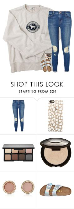 """""""that girl is a real crowd pleaser"""" by hailstails ❤ liked on Polyvore featuring J Brand, Casetify, Smashbox, Becca, Michael Kors and Birkenstock"""