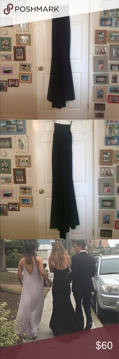 beautiful long black prom dress soo gorgeous on. form fitting high neck low back prom dress. lightly padded. gently used only once WINDSOR Dresses Prom