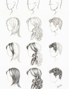 drawing step by step hair - Google Search