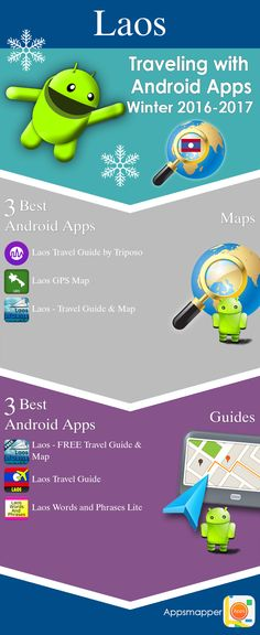 Laos Android apps: Travel Guides, Maps, Transportation, Biking, Museums, Parking, Sport and apps for Students.