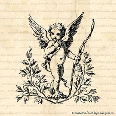 Cupid with Bow and Arrow Angels Love Digital by MadameBricolage, $2.00