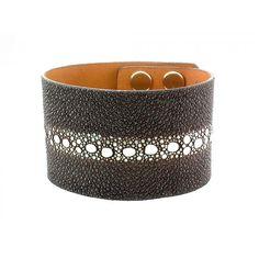 Mens Black Multi-Spine Stingray Exotic Skin Cuff Bracelet - Brown