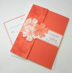 Coral Pocket Wedding Invitation  Scribbled by fairmontinvitations, $5.05