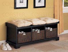 Black Finish Storage Ottoman Bench Baskets Cushions | [Polo's] Furniture