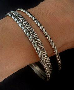 Vintage Mid Century Large or Upper Arm Bracelet. Nail Design Sterling Silver Bangle