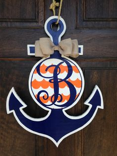 Blue and Orange Anchor Door Hanger by KnockKnockRVA on Etsy