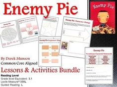 Enemy Pie by Derek Munson Lesson Plans and Activities (CCSS Aligned) This 16-page lesson and activity bundle includes: •Depth of Knowledge (DOK) Higher Order Thinking Questions to use during your read-aloud •Vocabulary Words •A Vocabulary Word Search •Vocabulary Classwork/Homework ideas •Shared Reading Information AND MORE!