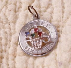 VINTAGE SWEET SIXTEEN 16TH BIRTHDAY 16 DISC STERLING SILVER PENDANT CHARM 925 #Unbranded #Traditional