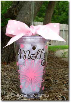Reusable Clear Acrylic Tumbler Cup with Screw by pinkpolkadotposh, $14.50