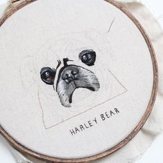 I was so excited when I got sent this picture of Harley bear the pug to work on! I've been wanting to embroider a pug for so so long! I hope you guys like it too! #embroidery #hoopart #needlepainting #threadpainting