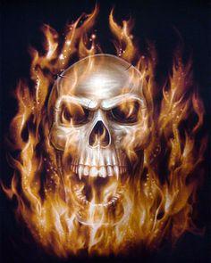 Flaming Vampire Skull