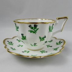Vintage Tea Cup and Saucer by Salisbury, with Thistles, English Bone China, Teacup and Saucer