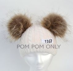RACCOON FUR Pom Poms PAIR Double Pom Pom Hat by SunnyBunnyCrochet