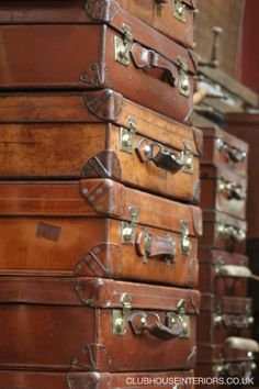 These are super cool, a collection of Genuine Restored Vintage Brown Leather Suitcases with Original Brass Catches and Locks. Vintage Leather Luggage, Antique Leather Luggage, Vintage Cases, Vintage Suitcases, Antique Cases, Antique Suitcases, Restored Leather. - Clubhouse Interiors