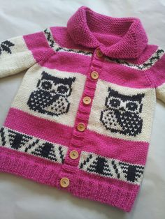 These gorgeous sweaters are handmade by a friend I went to college with - how cute would Denon be in grey owls :)    Hoo! Hoo! A custom made Cowichan style sweater to keep your little one warm and cozy. Knit in pure wool with a traditional collar and a choice of