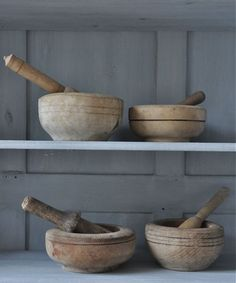 *wooden mortar & pestles