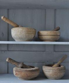 *wooden mortar & pestles