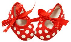 Red with White Polka Dot Print Crib Shoes